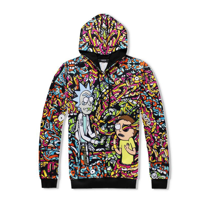 Men women Sweatshirt Hoodie Cool Colorful Rick and Morty 3D Hoodies Fashion Winter Streetwear Clothing