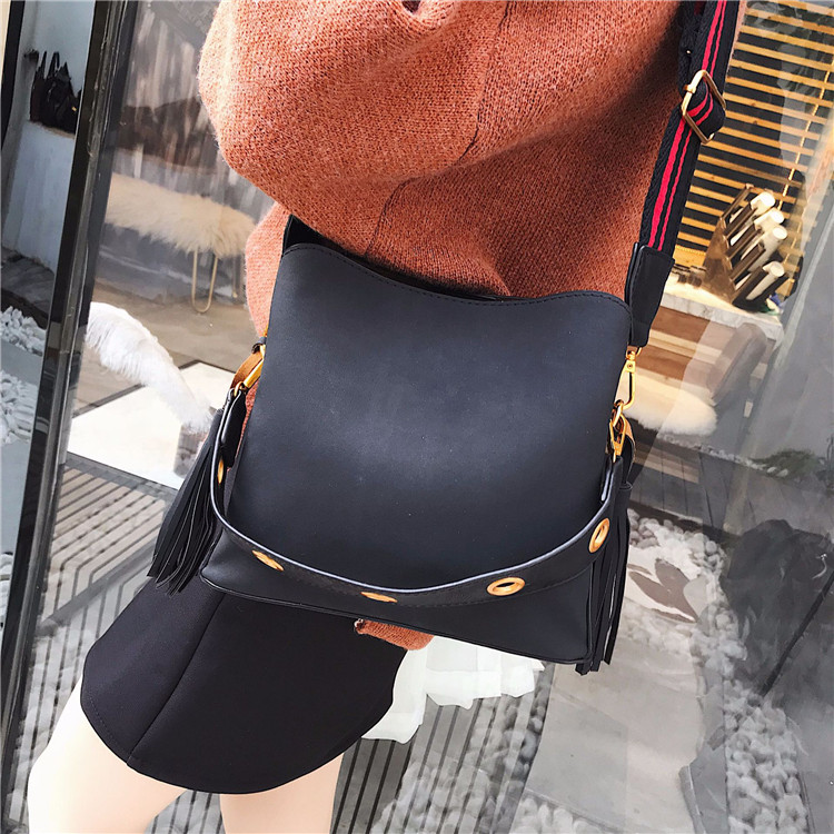 Bucket Bag Women Frosted Leather Tote Handbags For Female Tassel Design Shoulder Bag With Hollow Out Strap