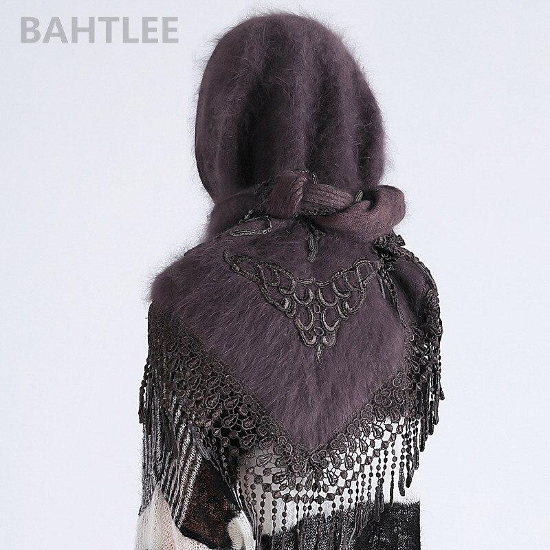 Image 4 - BAHTLEE 2018 hiver musulman femmes angora lapin turban hijab  écharpe Poncho triangulaire châle tricoté vraie fourrure enroulé  capeIslamique Vêtements