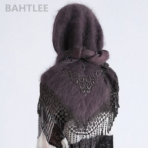 Image 4 - وشاح حجاب شتوي للسيدات من BAHTLEE بأشكال أنجورا وأرانب وعمامة شال ثلاثي الشكل محبوك من الفرو الحقيقي عباءة الرأس