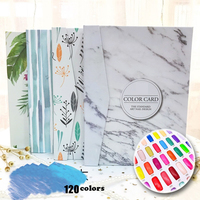 Professional Newest False Nail Color Book Dedicated 120 colors Polish Gel Color Card Display Book Nail Art Showing Shelf Tools