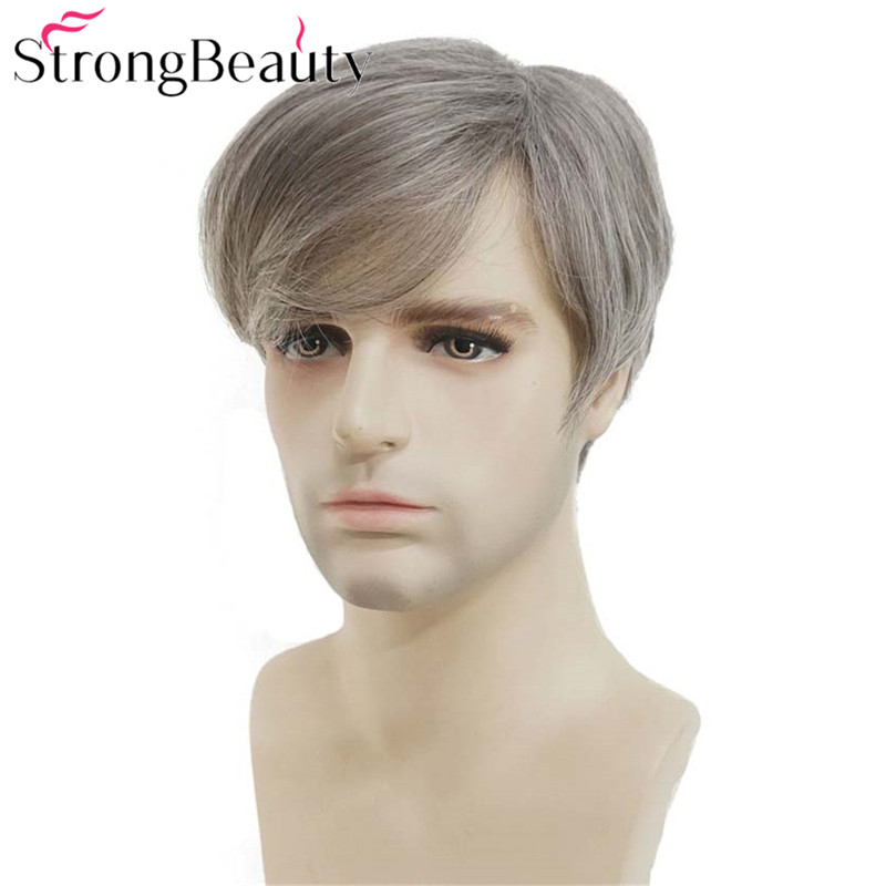StrongBeauty Men Short Wig Silver Grey Mix Straight Synthetic Natural Hair Heat Resistant Fiber Full Wigs