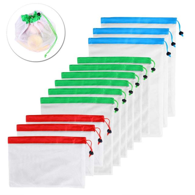DCOS 12pcs Reusable Mesh Produce Bags Washable Eco Friendly Bags for Grocery Shopping Storage Fruit Vegetable Toys 1