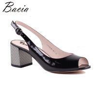 Bacia Black Full Grain Leather Golden Shee 6 8cm Print Thick Heels High Quality Genuine Leather