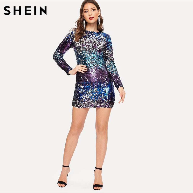 340a612d4a SHEIN Multicolor Party Sequins Iridescent Bodycon Dress Women Skinny Round  Neck Long Sleeve Dress 2018 Autumn
