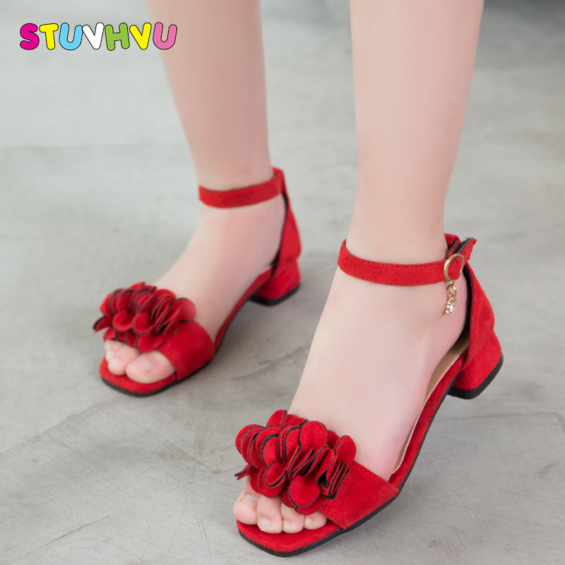 2018 new frozen girl high heel children sandals bow dance shoes holiday shoes