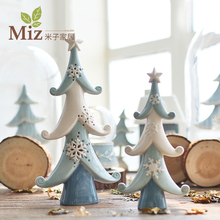 Home Furnishing Nordic Navidad Ceramic Ornaments Tree Lights Living Room Table Decoration Christmas Ornaments Cedar Gift