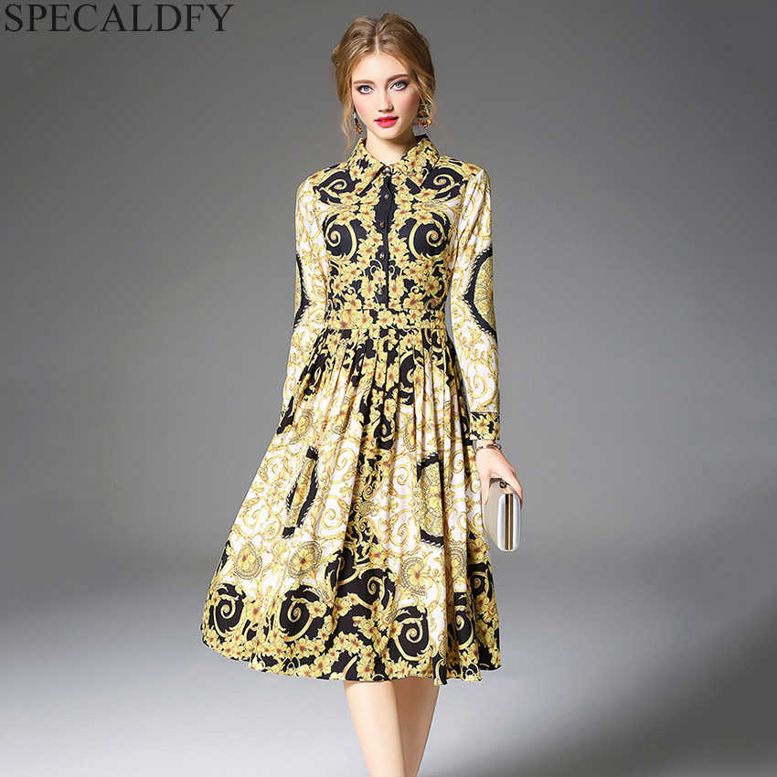 879ec53ea842 Designer Runway Dresses 2018 Women Luxury Print Vintage Dress Autumn Long  Sleeve Midi Shirt Dresses Robe