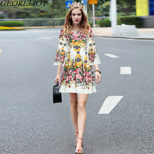 High Quality Runway Dress Women 2017 New Autumn Fashion Vintage Floral Print Flare Sleeve Tunic Party Dresses Vestidos De Festa
