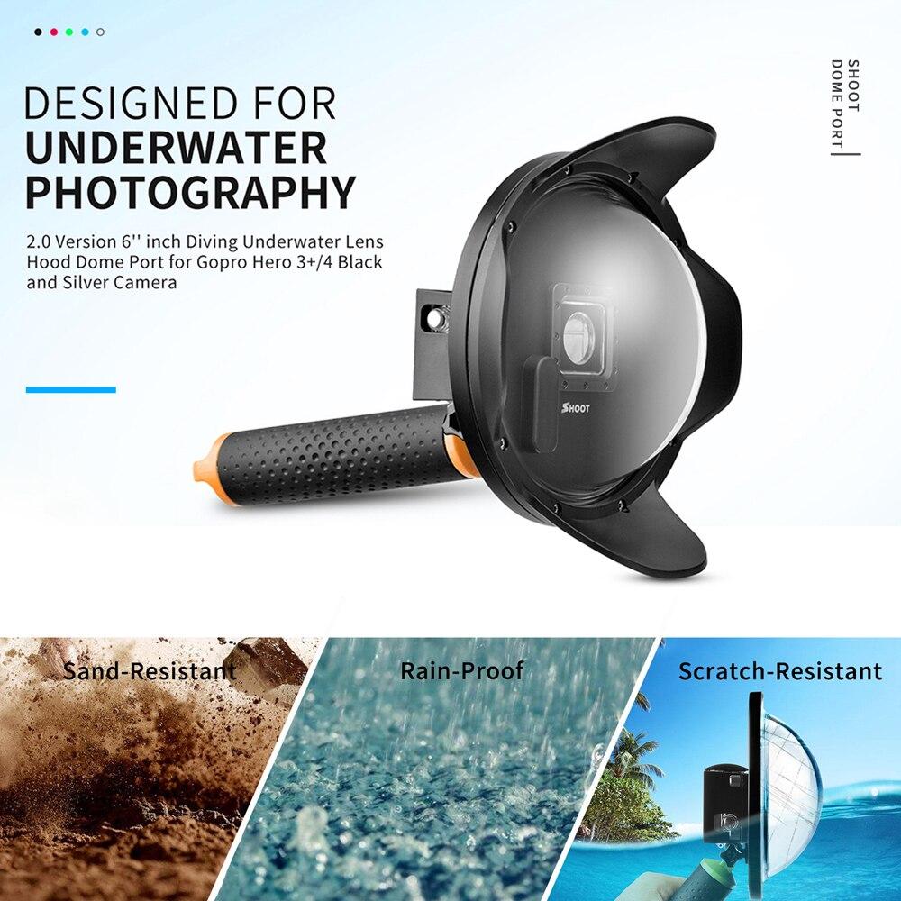 Стрелять 2,0 6 дюймов купол Порты и разъёмы для GoPro HERO 4 3 + черный, серебристый цвет действие Камера с поплавком сцепление Водонепроницаемый сл...