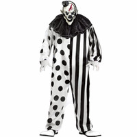 Plus Size Funny Striped And Dot Pattern Adult Men Cosplay Jumpsuit Including Hat Headpiece Mask Killer