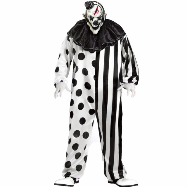 plus size striped kill clown party costumes men jumpsuit mask killer clown costume halloween scary