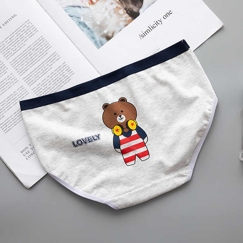 2019New في سن المراهقة السروال الدب مطبوعة يونغ فتاة ملخصات الكرتون سراويل فتاة لباس داخلي من القطن ملابس داخلية للأطفال B807