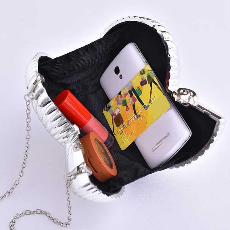 Модный Вечерний Клатч золотого и серебряного цвета, женские сумки на цепочке, вечерние сумки через плечо для женщин, маленькие милые сумочки, клатчи
