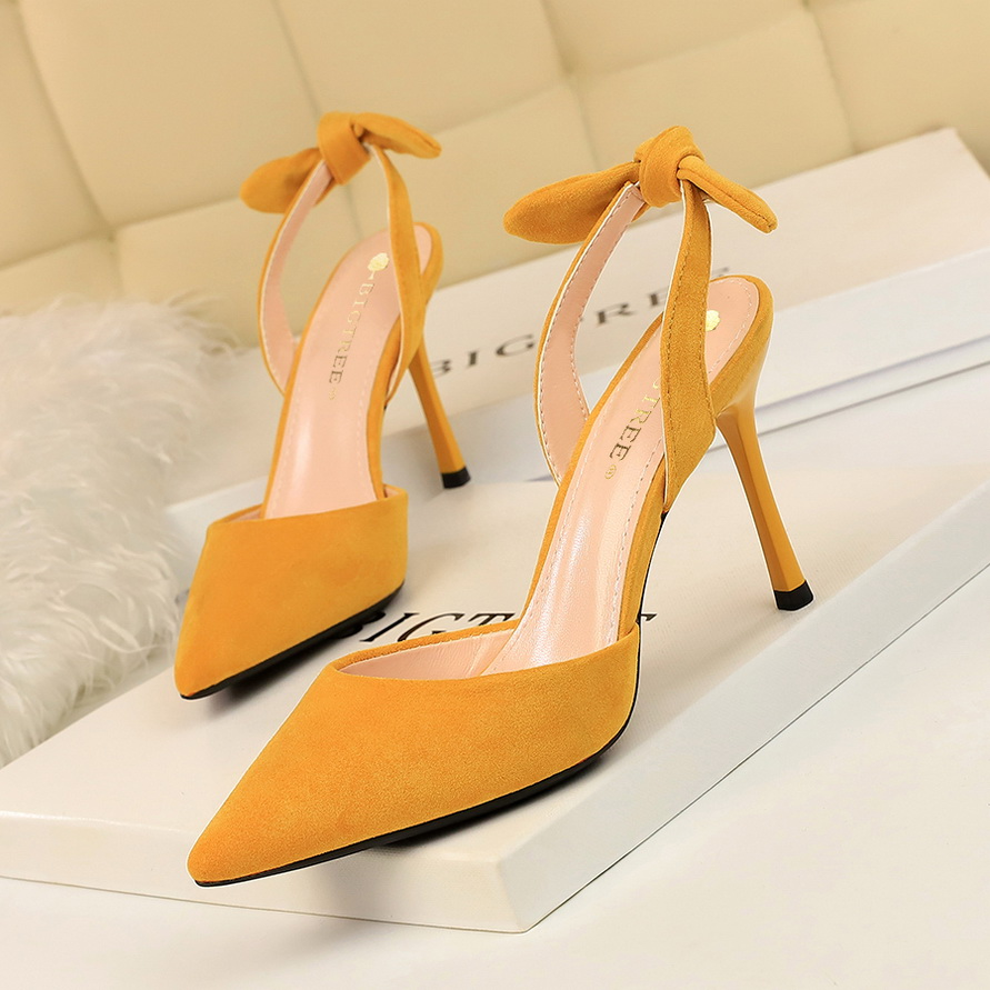 BIGTREE High Quality Sweet Beauty Women Shoes Stiletto High Heel 2019 Shallow Pointed Suede Bow Fashion 9.5CM Heel High Pumps