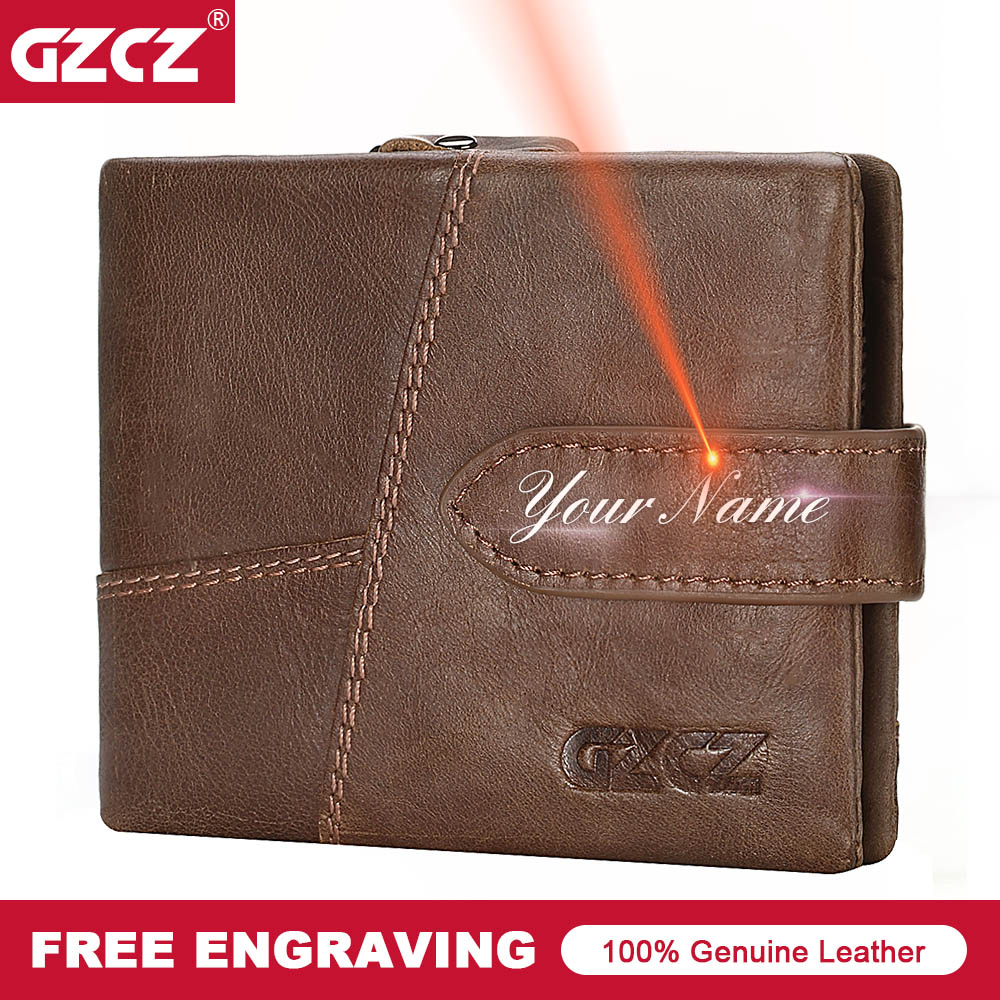 GZCZ Men Wallets Purse Card-Holders Walet-Coins Horse-Cowhide Small Design Brand Male