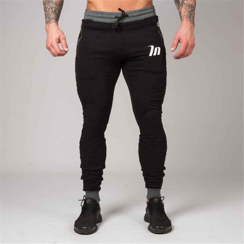 2018 autumn and winter men's pure cotton pants, new gyms fitness pants joggings exercise pencil pants men's printing brand