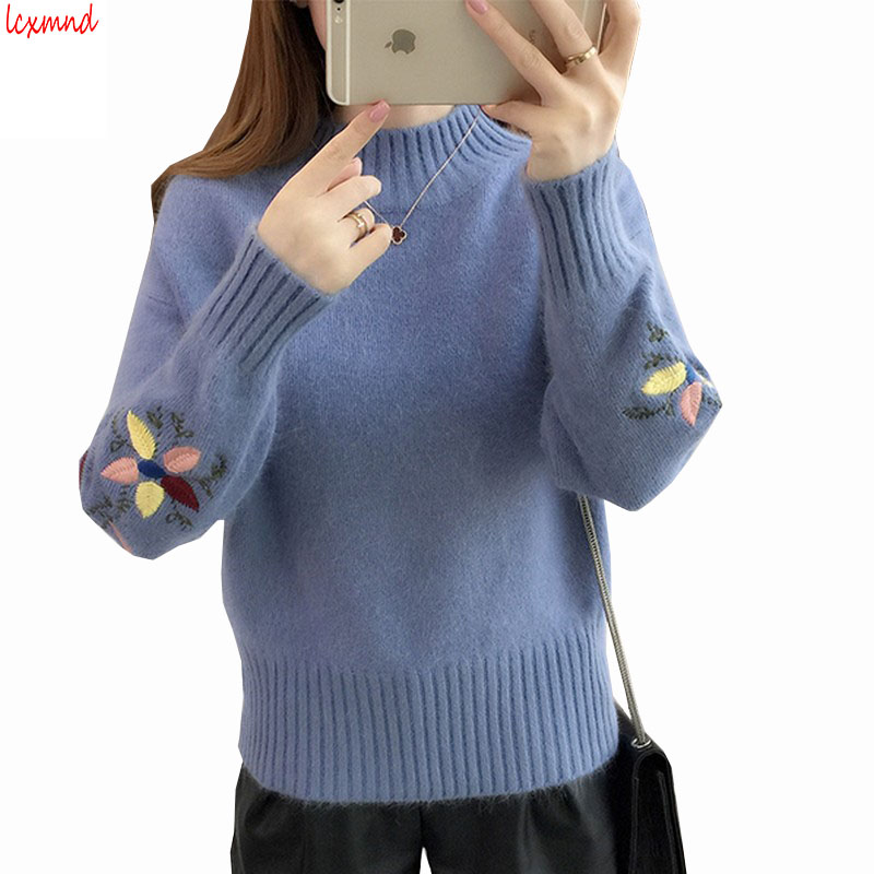 2018 New Autumn and Winter Loose Embroidered Knit Sweater For Women Thickening Loose Lady's Sweater Long Sleeve Sueter Mujer