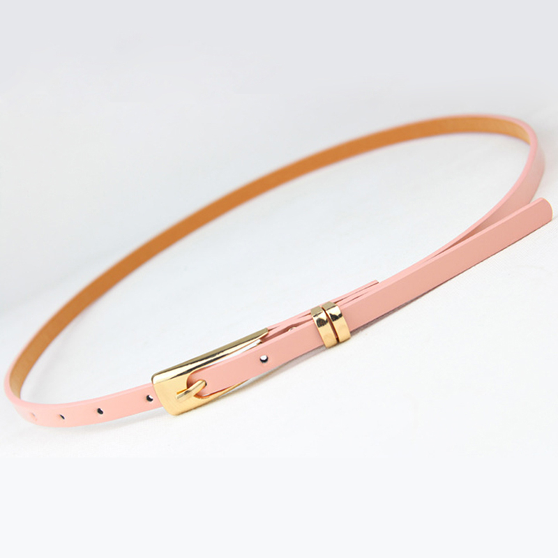 8 Colors Thin Pu Leather Adjustable Belt Elegant Female Red Brown Black White Yellow Waist Women Dress Belts  Strap Wholesale