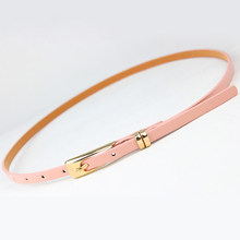 8 Colors Thin Pu Leather adjustable Belt Elegant Female Red Brown Black White Yellow Waist Women Dress Belts Strap Wholesale(China)