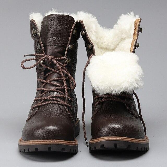 Doğal Yün Erkekler Kış Ayakkabı Sıcak Hakiki Deri El Yapımı Erkekler Kış Kar Botları # YM1568