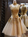 No real nupcial del a line vestidos de fiesta 2016 barato sexy cóctel de encaje apliques cuello alto prom dress