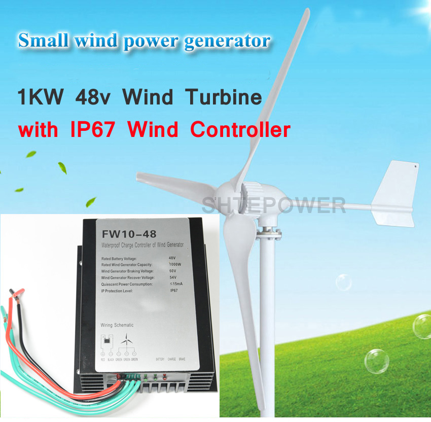 Wind 24V/48V controller battery charger 1000W 1KW wind generator easy installtion low start up wind speed three phase AC 2 5m s start up wind speed three phase 3 blades 1000w 48v wind turbine generator with 1000w 48v waterproor wind controller