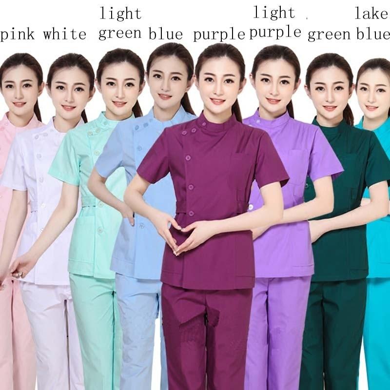 Women Medical Uniforms Scrub Set Hospital Clothes Slim Fit Dental Scrubs Beauty Salon Nurse Uniform Adjustable Waist Top + Pants