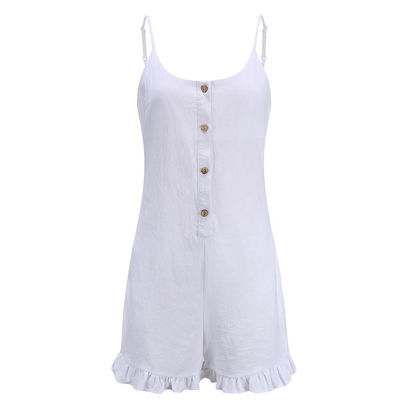 Forefair Sexy jumpsuit Shorts White Ruffles (7)