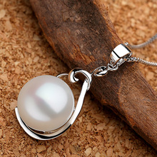 Sinya real pearl pendant necklace 925 sterling silver charm for women Guaranty hand-polished fine jewelry with 18inch box chain