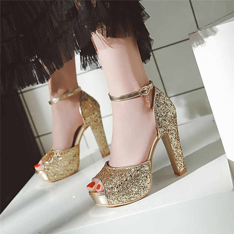 YMECHIC 2018 Summer Gold Silver Lady Party Shoes Platform Peep Toe Women Bling Ankle Buckle High Heel Sandals Wedding Brial Shoe