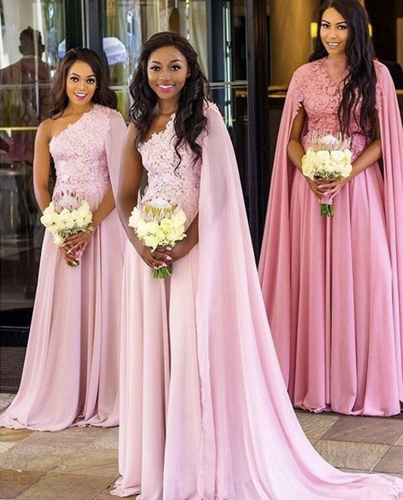 V-Neck A-Line Lace Applique Crystal Beaded Chiffon   Bridesmaid     Dresses   Cheap Chiffon Lace   Bridesmaid   Gowns 2019 Newest