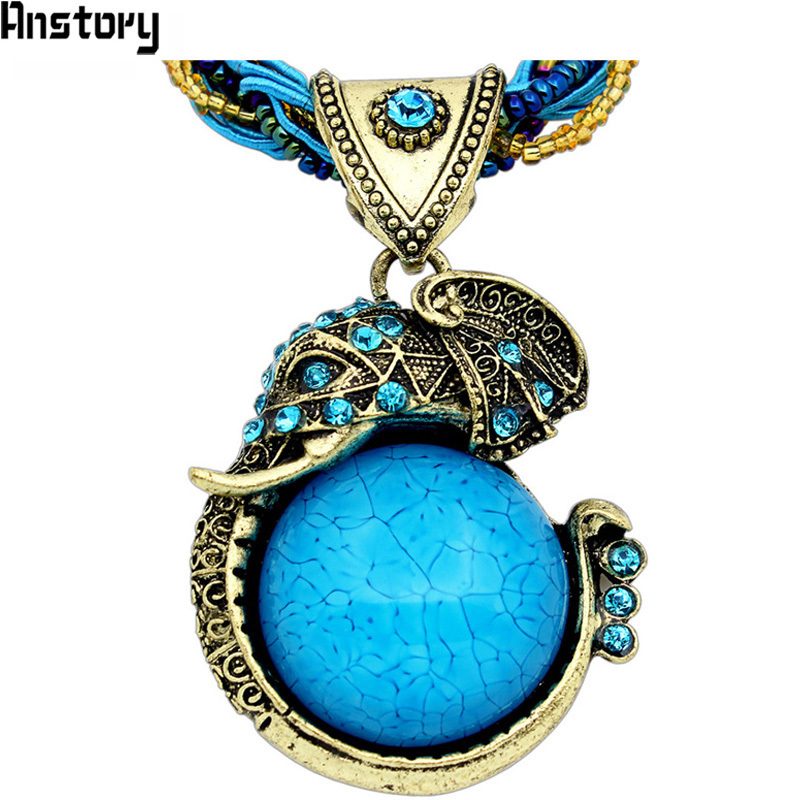 Handmade Chain Crystal Resin Elephant Pendant Necklace For Women Vintage Antique Bronze Plated Fashion Jewelry N190 расходомер royal thermo коллекторный rto 52020