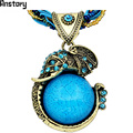 Handmade Chain Crystal Resin Elephant Pendant Necklace For Women Vintage Antique Bronze Plated Fashion Jewelry N190