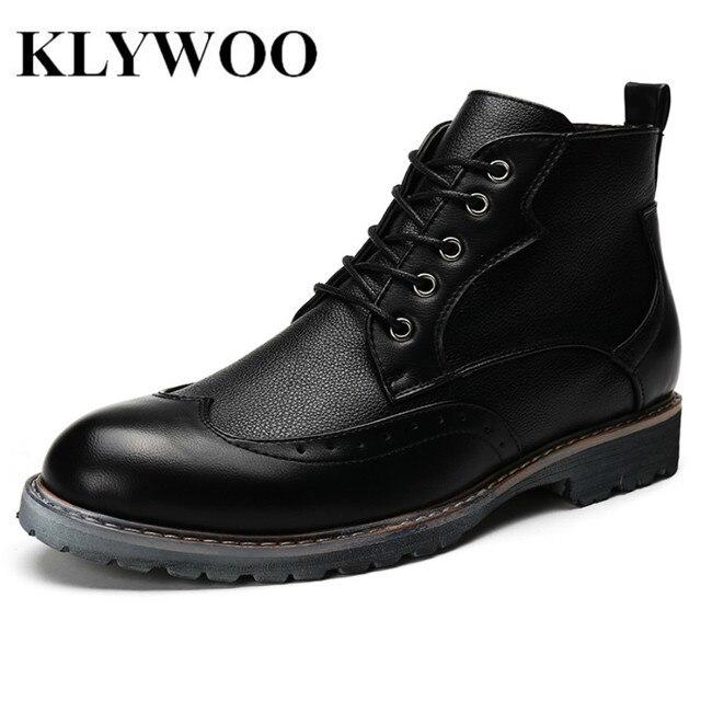 KLYWOO Hombres de Cuero del Invierno Botas de Los Hombres de Moda Zapatos Casuales de Alta Top de Los Hombres Botas Al Aire Libre Botas de Trabajo Hombres Brogue Zapatos de Invierno negro