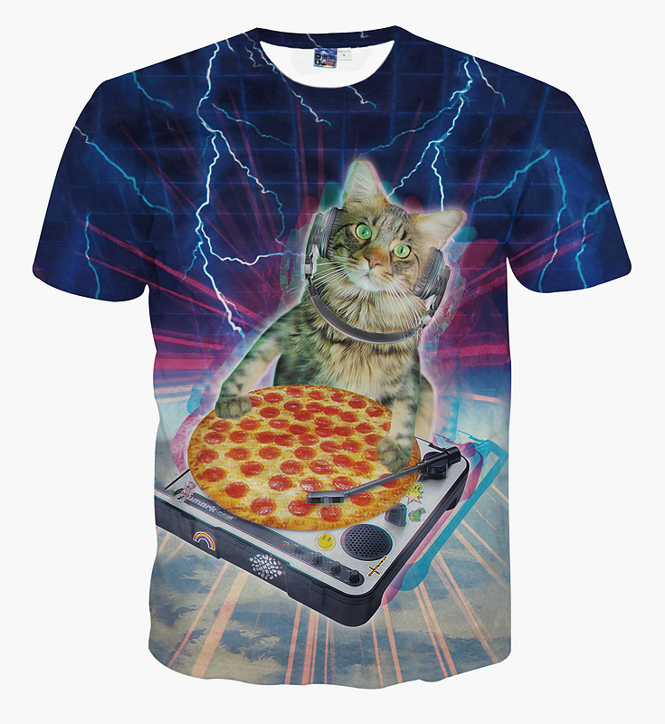 New Arrival Summer Tops/tees DJ Paws T-Shirt DJ Paws droppin some sick beats pizza Short Sleeve tshirt Women Men Casual Outfits