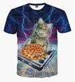 Nueva Llegada Del Verano Tops/tees Patas Patas T-Shirt DJ DJ droppin algunos latidos enfermos de pizza de Manga Corta camiseta Hombres de Las Mujeres Ocasionales trajes