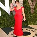 Oscar Huntington New Celebrity Dresses Red V-neck Backless Lace Chiffon Cap Sleeve Evening Dress Prom Dresses