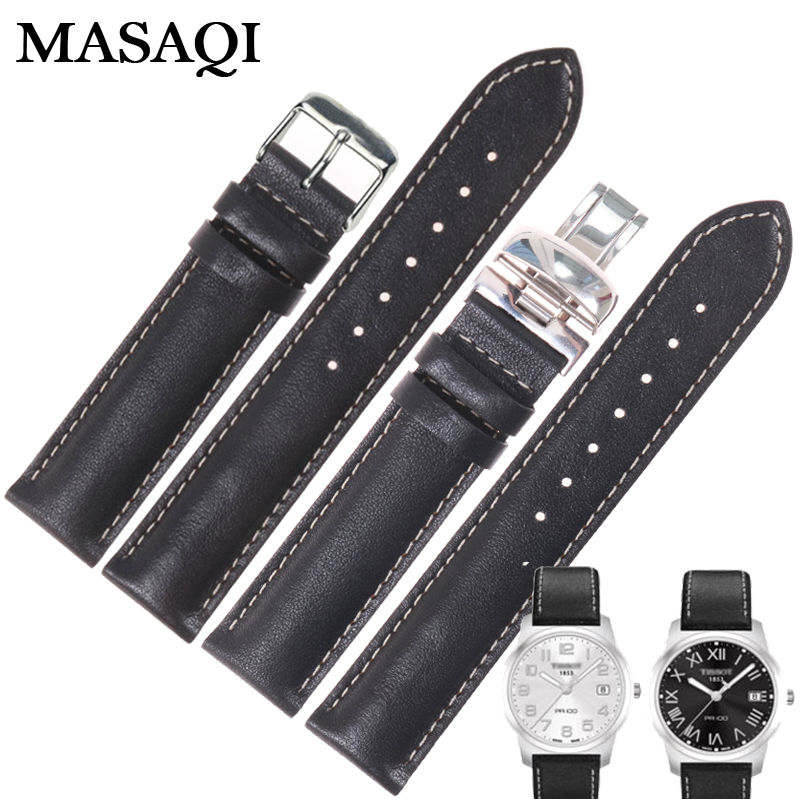 MASAQI Watch Straps For Tissot T014 T049 PR100 19MM Watch Band High Quality Genuine leather Nato Leather Strap Watchbands genuine leather watchbands for tissot mido lv dior for 1853 t050 waterproof men women buckle strap watch strap fits all brand
