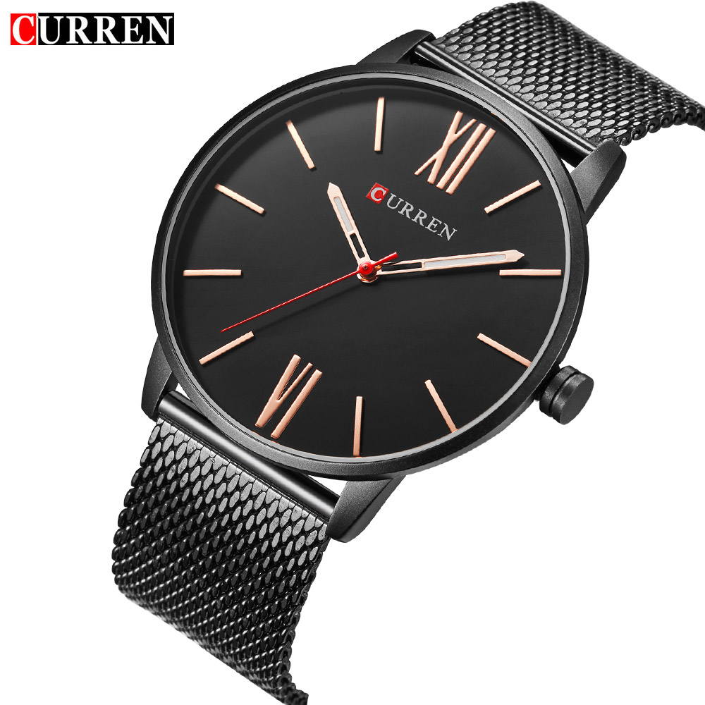CURREN Hot Fashion Ultra-thin Classic Quartz Watches Business Men's Wristwatch Stainless Steel Band Waterproof Male Clock