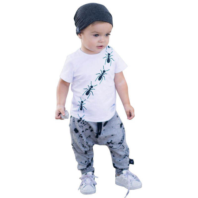 Hot Sale Baby Boys Summer Clothing Cotton Ants Printing T-shit+Solid Color Pants Boys Print Clothes Suit