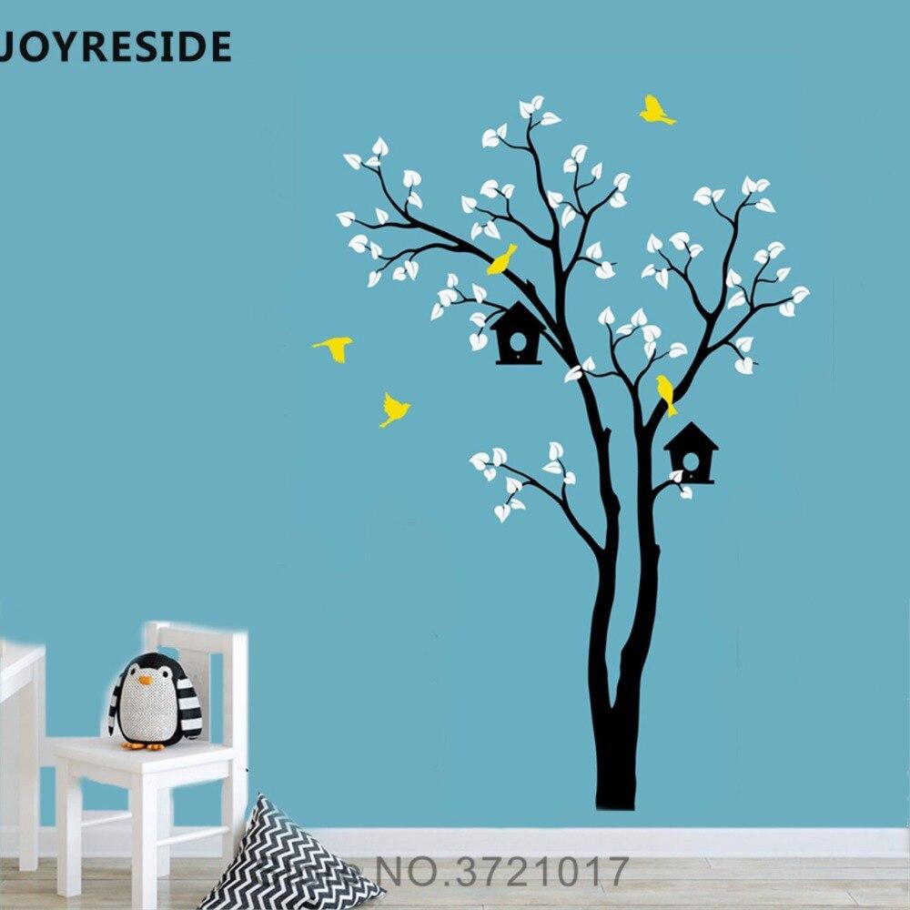 Joyeux arbre Branches nichoir Sticker mural oiseaux volants Sticker mural vinyle décor maison enfants chambre décor intérieur Design A856