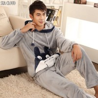 Free Shipping Autumn And Winter Men Thickening Flannel Pajamas Plus Size Sleepwear Male Cartoon Coral Fleece