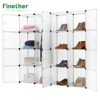 Finether 16 Cube Interlocking Modular Storage Organizer Shelving System Closet Wardrobe Rack with Doors for Home Clothes Shoes