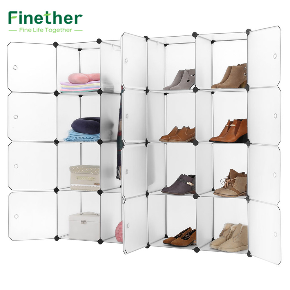 Modular storage furniture systems - Finether 16 Cube Interlocking Modular Storage Organizer Shelving System Closet Wardrobe Rack With Doors For Home