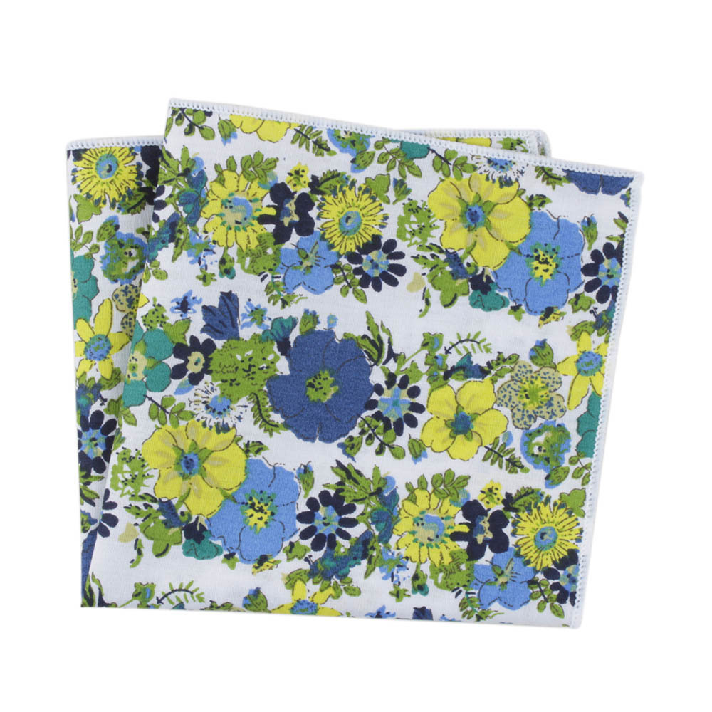 Men's Small Square Handkerchief Europe And The United States Retro Printed Cotton Suit Pocket Towel Floral Print Casual Fashion
