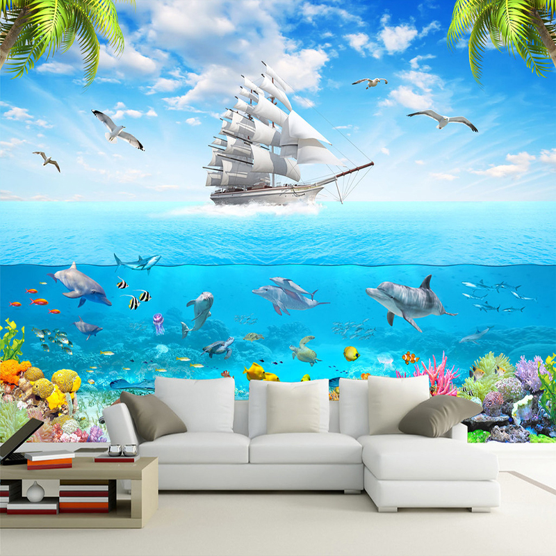 Custom Wallpaper Murals 3D Seagull Sailing Underwater World Dolphin Photo Mural Wall Decals Living Room Bedroom Papel De Parede