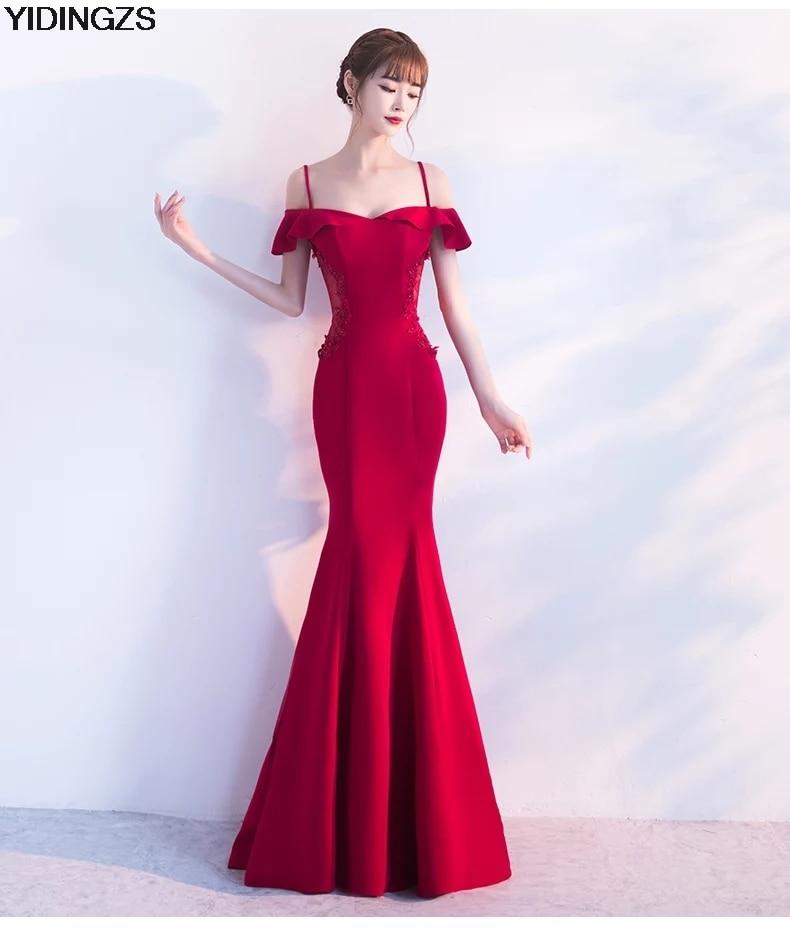 Aliexpress.com   Buy YIDINGZS See through Dress Appliques Beaded Robe De  Soiree Wine Red Long Evening Dress Party Vestido De Festa from Reliable red  long ... 7429213d4e60