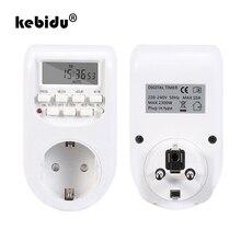 Kebidu Toma de corriente de pared eléctrica programable, Digital, semanal, con pantalla LCD, temporizador, interruptor de salida, reloj de tiempo