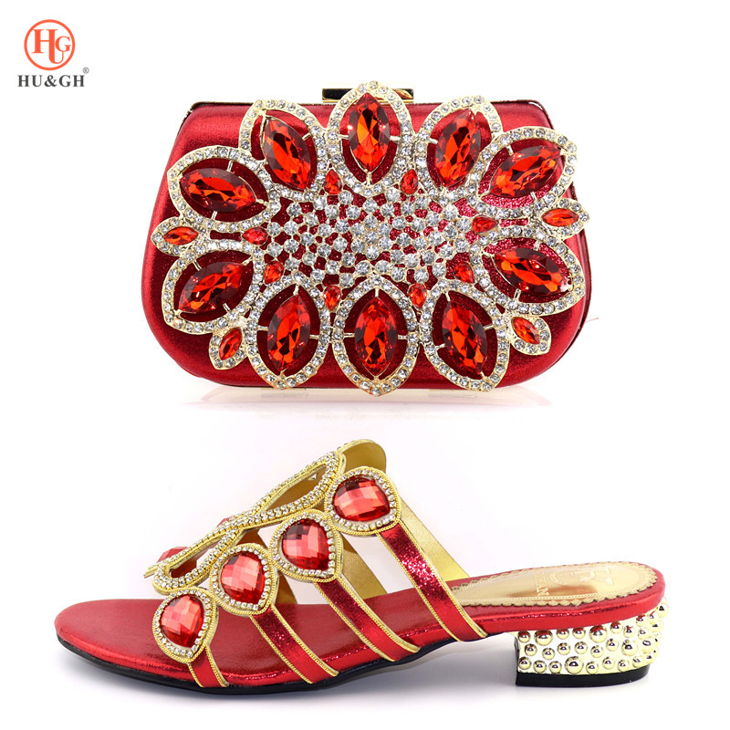 2019 Latest Red Coral Italian Ladies Shoes and Bags To Match Set Decorated with Rhinestone African